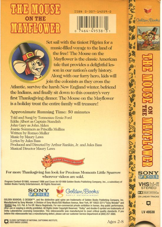 VHS The Mouse On The Mayflower Sony Golden Books USA