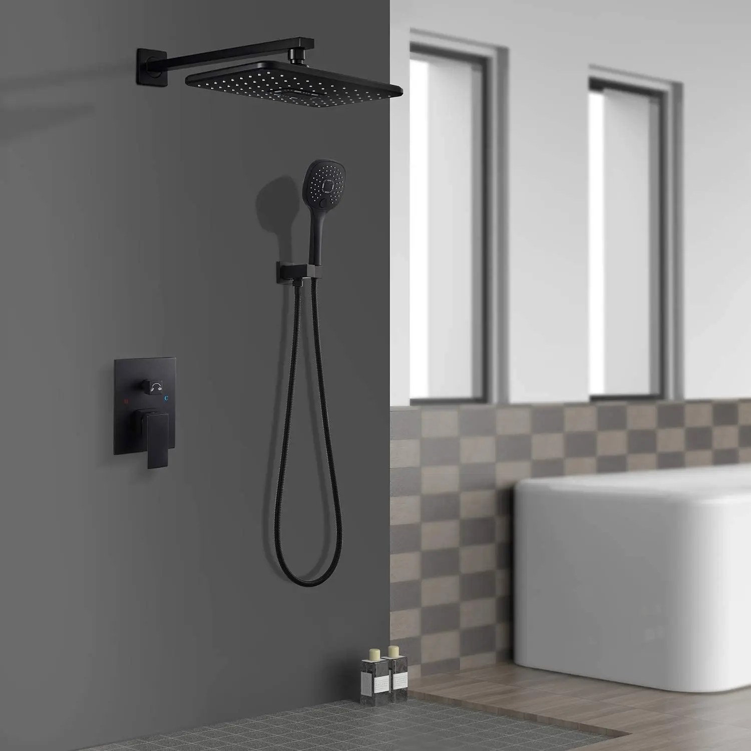 shower faucet set with valve luxury shower system with rain shower head and handheld black