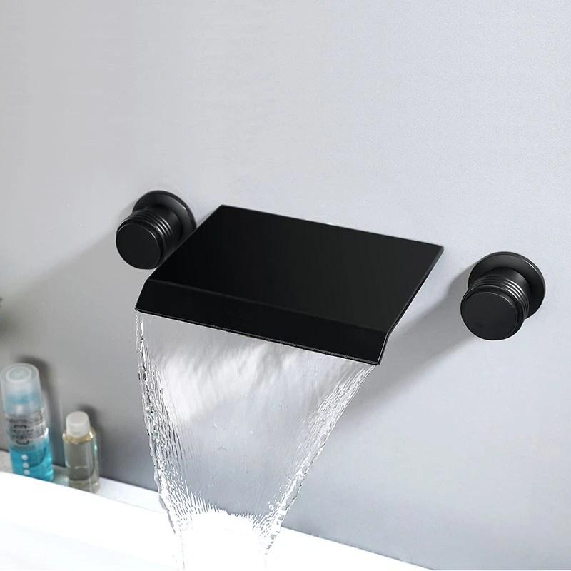 waterfall wall mount bathroom sink faucet 2 handle roman tub tap black himylen