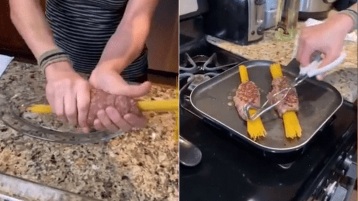 Getti first wraps the uncooked pasta noodles in meat and grills the meat on a pan.