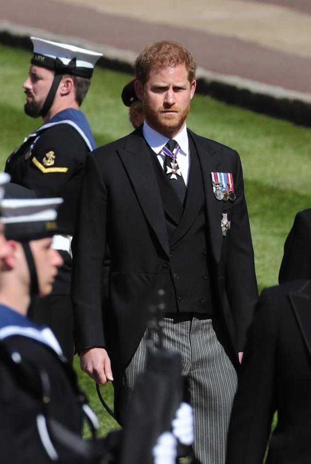 Harry has left behind heavily pregnant Meghan at home.
