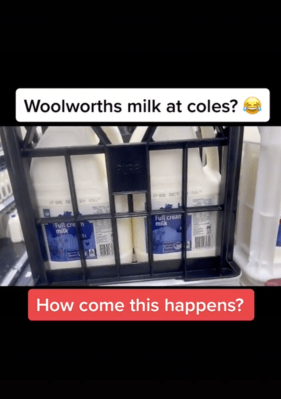 A close-up of the Woolworths milk, which was included with the Coles-branded milk.