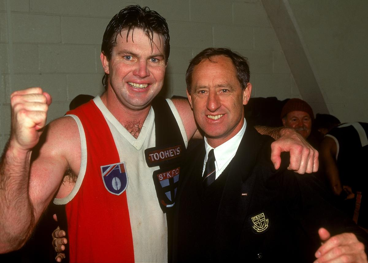 Danny Frawley, pictured with Saints coach Stan Alves in 1995, captained St Kilda for much of his 240-game career.