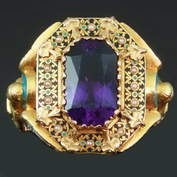 French Bishop Ring Stunning Enamel Gem Amethyst Gold Victorian Antique Jewellery