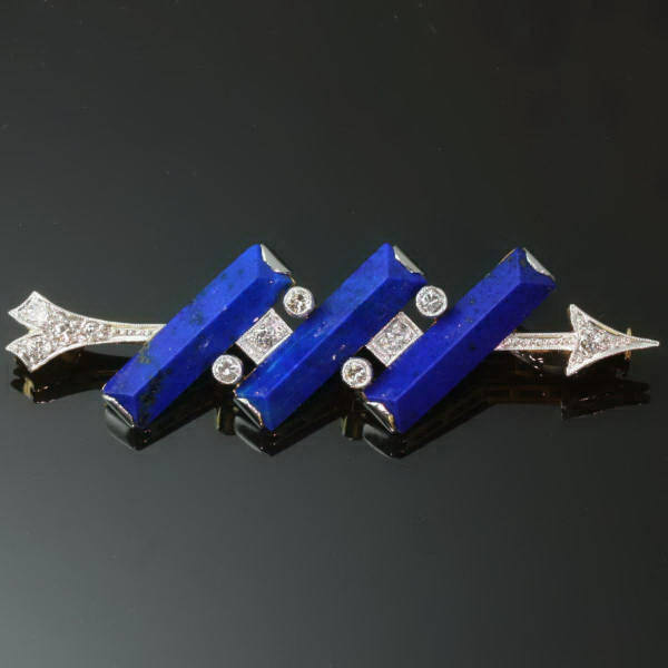 Lapis Lazuli Brooch Estate Diamonds