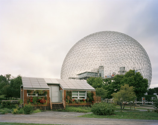 """Montreal 1967 World's Fair, """"Man and His World,"""" Buckminster Fuller's Geodesic Dome With Solar Experimental House, 2012. Image © Jade Doskow"""
