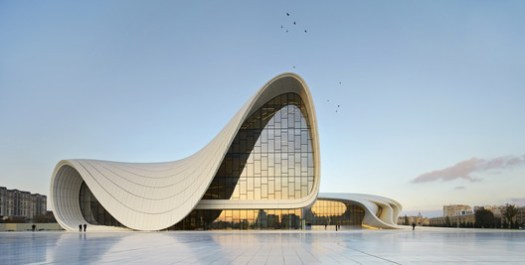 The Heydar Aliyev Center, designed by Zaha Hadid Architects, run by noted female architect Zaha Hadid. Image © Hufton + Crow