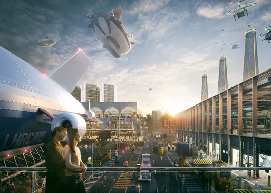 """An image for Hawkins\Brown's """"Romance of the Sky"""" proposal, created by Factory Fifteen, a visualization and animation company founded by alumni of the Bartlett's """"Unit 24"""" for films and architecture. Image © Factory Fifteen"""