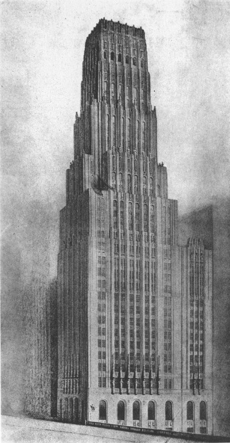 The unbuilt plan for the Tribune Tower. Image via Wikimedia (public domain)