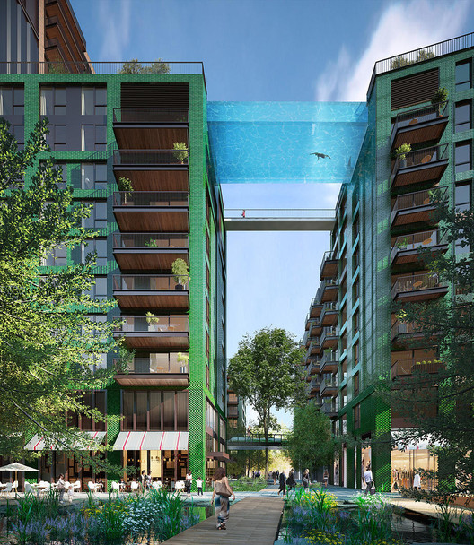 The 'Sky Pool' will be suspended 35 metres above ground level. Image © Hayes Davidson