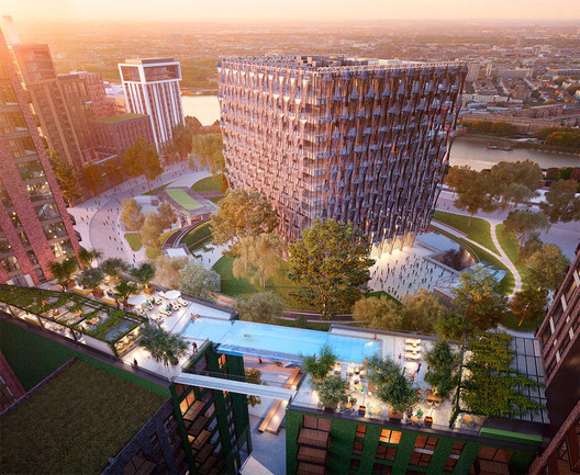 View of the 'Sky Pool's' location relative to the new Embassy of the United States. Image © Hayes Davidson