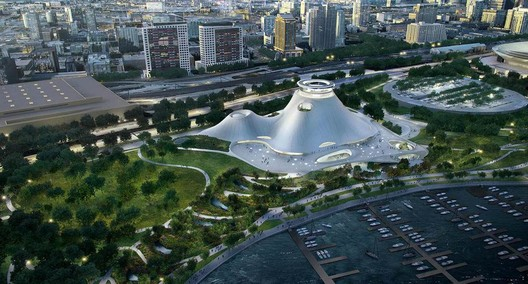 Updated design for the Lucas Museum in Chicago. Image © Lucas Museum of Narrative Art / MAD