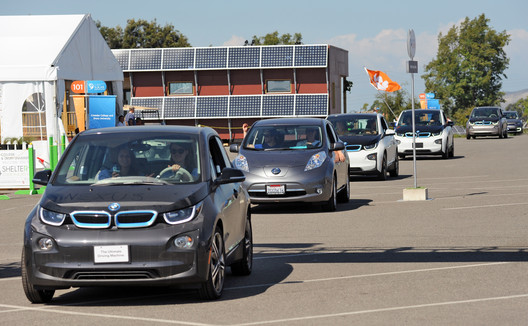Electric cars on show as part of the 2015 Solar Decathlon's Commuting Contest. Image © Thomas Kelsey / U.S. Department of Energy Solar Decathlon