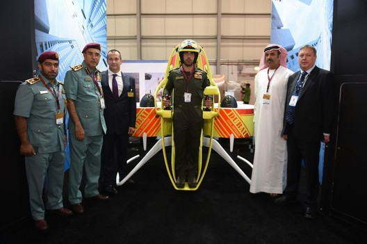 """The """"Martin Jetpack"""" that will be used by Dubai's emergency services at the Dubai Airshow. Image via Gizmag"""