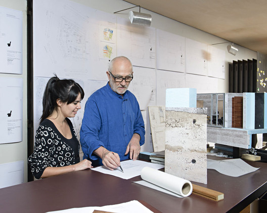 Even though they don't speak the same language, Zumthor and Cabral found that they both like to start projects with open-ended collaborative conversations. Image Courtesy of Gloria Cabral and Peter Zumthor/Rolex Mentor and Protégé Arts Initiative