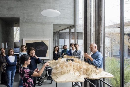 Architect Gloria Cabral (pictured left, in the foreground) worked with Swiss master Peter Zumthor (far right) on the Tea Chapel at the Shrine of Our Lady of the Rosary of Namyang, in South Korea. The collaboration was made possible by the Rolex Mentors & Protégés initiative. Image Courtesy of Gloria Cabral and Peter Zumthor/Rolex Mentor and Protégé Arts Initiative