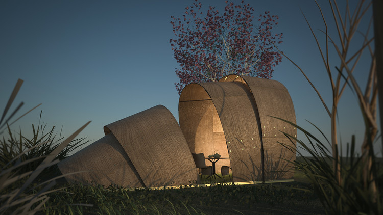 Armadillo Tea Pavilion Rendered View. Image Courtesy of Revolution PreCraft