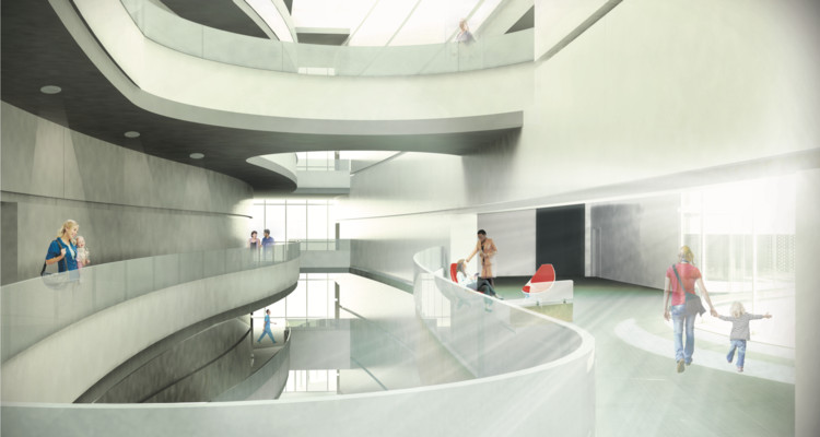 Munroe Meyer Institute, Atrium Rendering. Image Courtesy of College of Architecture University of Nebraska–Lincoln