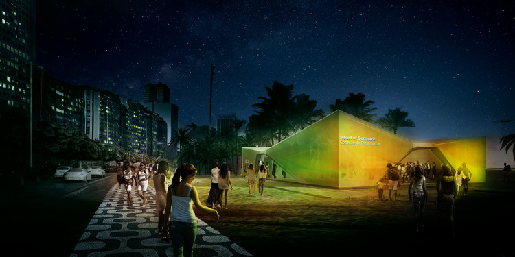 Exterior Rendered Night Time Perspective. Image Courtesy of Henning Larsen