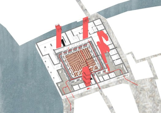Il Fondaco dei Tedeschi, ground floor circulation diagram. Image Courtesy of OMA