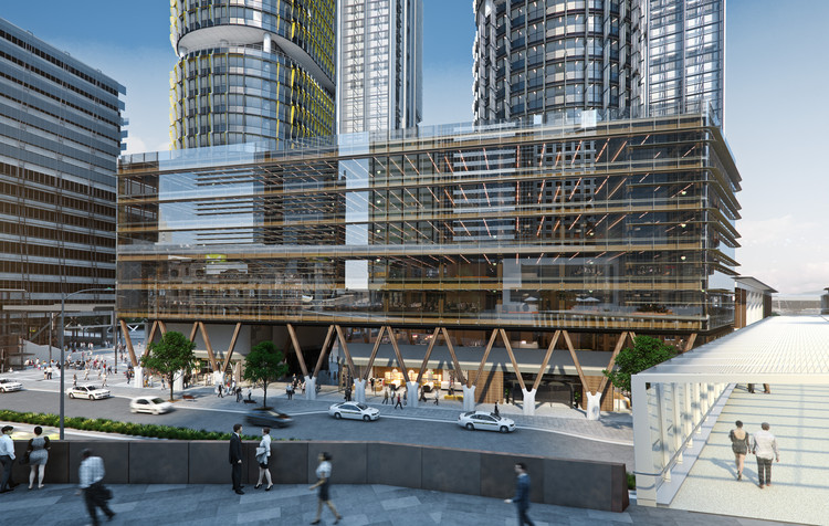 Tzannes Releases Designs for Australia's Largest Commercial Timber Building, View from Hickson Road pedestrian bridge. Image Courtesy of Tzannes