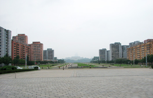 View from Workers' Party Monument, showing city's axis and poor building quality either side. Image © Alex Davidson
