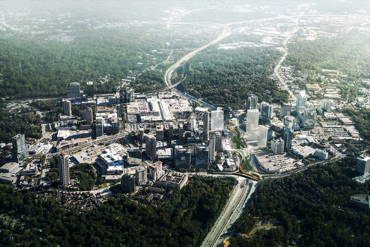 Aerial view looking toward Downtown Atlanta. Image Courtesy of Roger Partners / Nelson Byrd Woltz