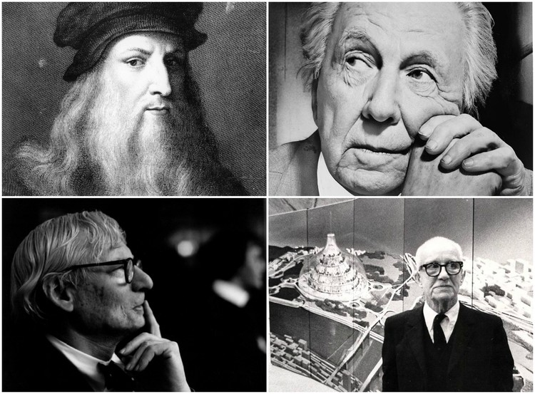 Image credits, clockwise from top left: Public Domain <a href='https://commons.wikimedia.org/wiki/File:LEONARDO.JPG'>via Wikimedia</a>; Public Domain photographer Al Ravenna <a href='https://commons.wikimedia.org/wiki/File:Frank_Lloyd_Wright_portrait.jpg'>via Wikimedia</a>; <a href='https://commons.wikimedia.org/wiki/File:R._Buckminster_Fuller_with_his_domed_city_design.jpg'>Wikimedia user Steve Yelvington</a> licensed under <a href='https://creativecommons.org/licenses/by-sa/4.0/deed.en'>CC BY-SA 4.0</a>; Robert C Lautman