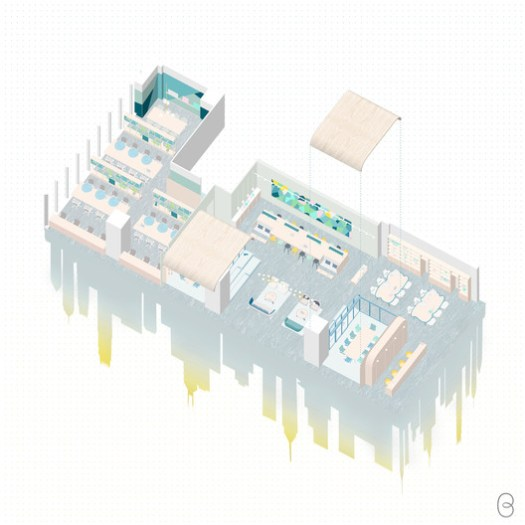 Axonometric drawing. Image © Bean Buro