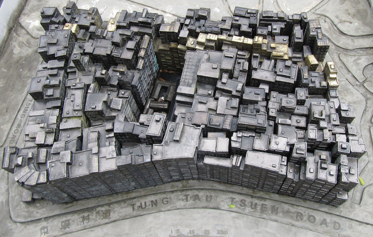 Model of Kowloon Walled City now placed in Kowloon Walled City Park. Image © <a href='https://commons.wikimedia.org/wiki/File:Kowloon_Walled_City_Statue.jpg'>Wikimedia user archangelselect</a> licensed under <a href='https://creativecommons.org/licenses/by-sa/3.0/deed.en'>CC BY-SA 3.0</a>