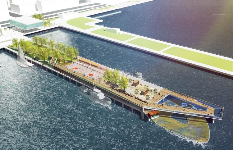 Plans Revealed to Transform Pier 26 into New Park along the Hudson River in New York, Rendering by OLIN Studio, via Tribeca Citizen. ImagePier 26