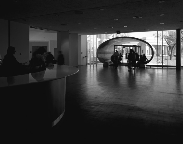 Denver Art Museum North Building entryway and welcome desk. 1971. Image © Wayne Thom