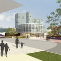 Proposed architectural rendering of North Building from the Cultural Center Complex Garage. Image Courtesy of Fentress Architects and Machado Silvetti