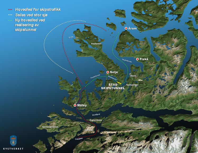 The illustration shows where Stad Ship Tunnel is planned; with southern entrance in Moldefjorden and northern entrance in Kjødepollen. Image © Norwegian Coastal Administration/Appex