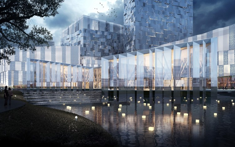 Innovation Prize: Sino-Finnish Economic and Culture Cooperation Center, Nanjing, Jiangsu province, China, by PES-Architects Ltd for Southern New Town Construction Development Office, Nanjing (schematic design phase spring 2017). Image Courtesy of The Architectural Review