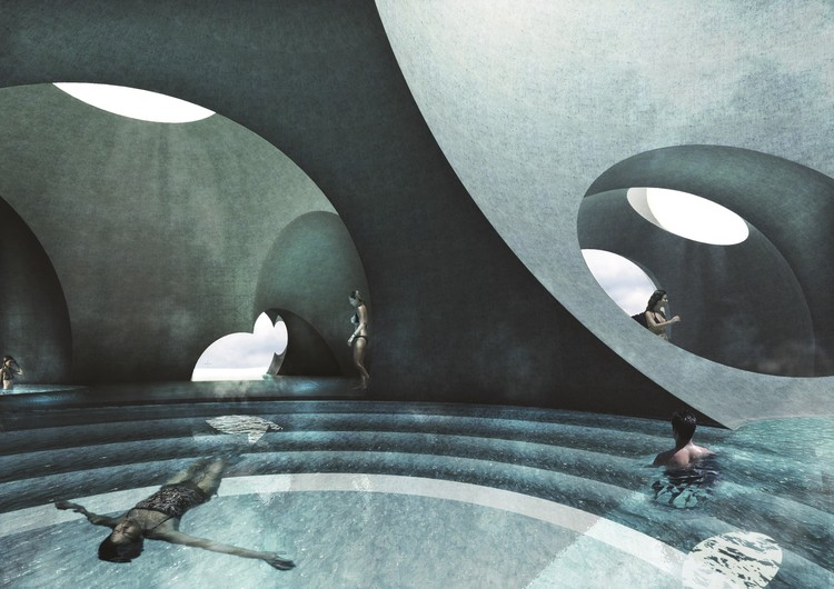 Retail and Leisure: Liepāja Thermal Bath and Resort, Latvia designed by Steven Christensen Architecture for Liepāja City Council (unbuilt). Image Courtesy of The Architectural Review