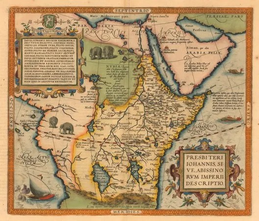 Prester John, or, a map of the Abyssinian Kingdom. Image © Abraham Ortelius (Public Domain)
