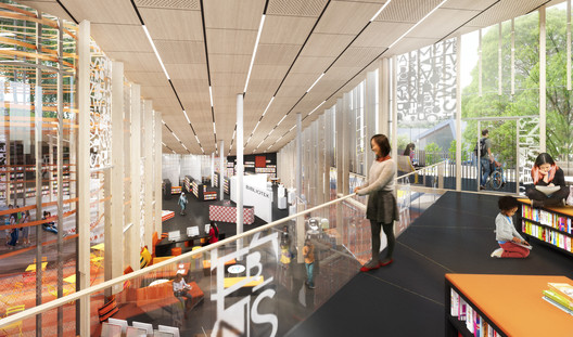 The interior includes informal, flexible space for meeting and talking. Image Courtesy of Sweco