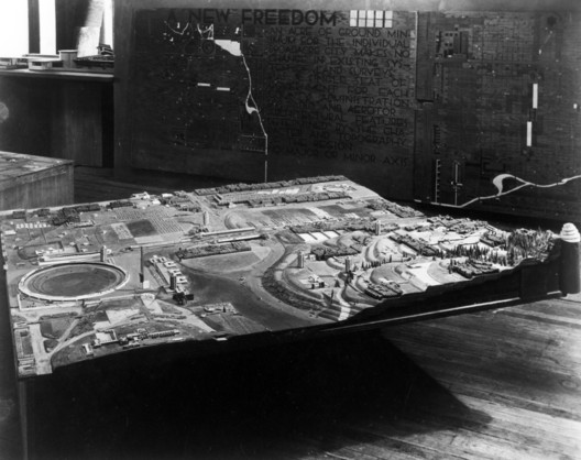 Broadacre City model. Image Courtesy of The Frank Lloyd Wright Foundation Archives (The Museum of Modern Art | Avery Architectural & Fine Arts Library, Columbia University, New York)