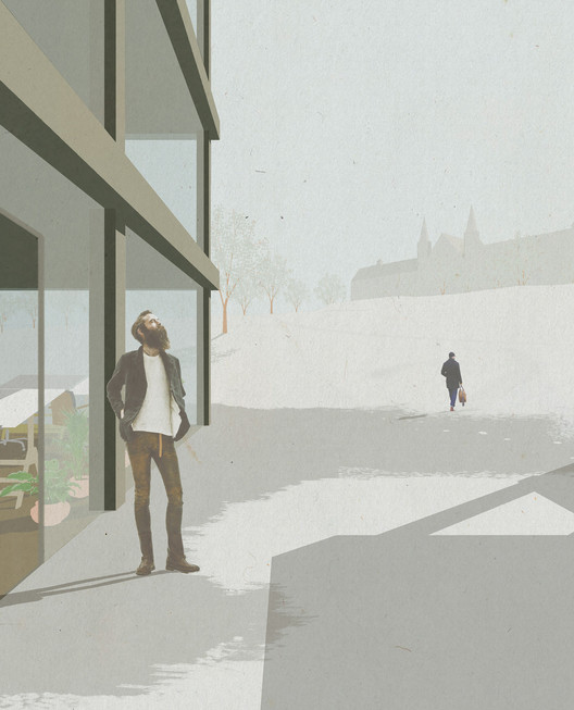 Towards the campus' main building. Image Courtesy of KOHT Arkitekter