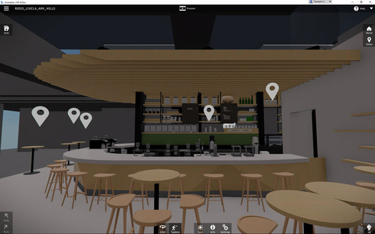 The view in Autodesk Revit Live. The 3D space of the design can be viewed and moved through using a head-mounted display. Image Courtesy of Starbucks Japan