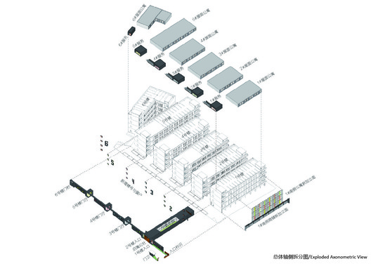 Exploded axonometric view, the relationship between new and old is visible.