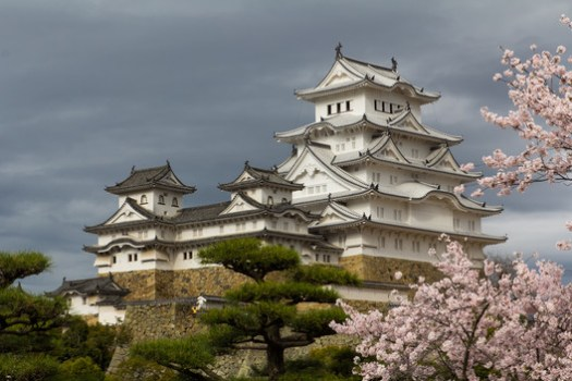 """The white plaster walls and sweeping terraces of Himeji-jo inspire its other name, """"Castle of the White Heron."""" . ImageCourtesy of Wikimedia user Oren Rozen (licensed under CC BY-SA 4.0)"""