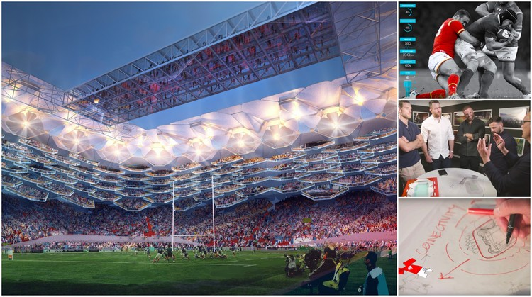 Legendary Rugby Players Help HOK Design the Stadium of Tomorrow , The design of the perfect rugby stadium was a collaboration between HOK and four rugby legends. Image Courtesy of HOK
