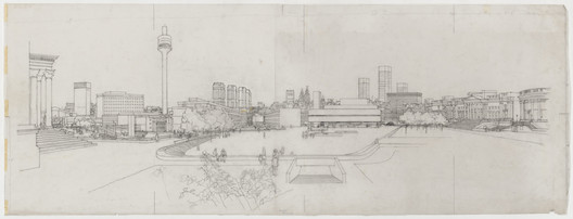 Panorama proposal for the layout of the city centre, Liverpool by Shankland Cox Partnership, c.1963. Image © RIBA Collections