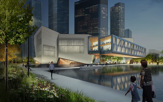 View from northwest reflecting pool. Image Courtesy of Diller Scofidio + Renfro