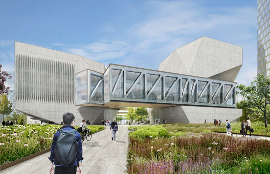 View of the main entry at the southeast corner. Image Courtesy of Diller Scofidio + Renfro