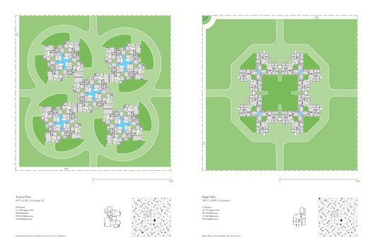 Atypical Plans, Section 32 NE Freedomland (left) and Happy Valley, Section 6 NW, Freedomland (right). From Atlas of Another America: An Architectural Fiction (Park Books, 2016). Image Courtesy of Chicago Architecture Biennial