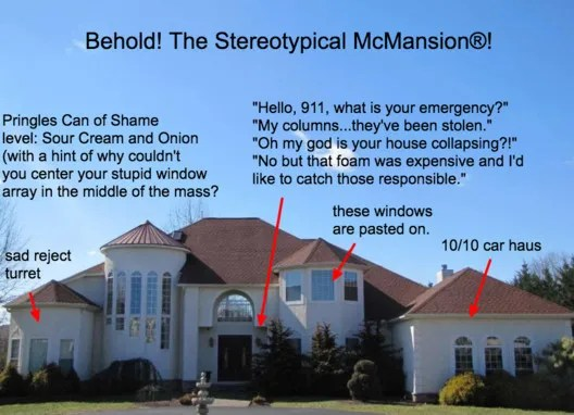 McMansion Hell posts poke fun of the architecturally nonsensical designs of enormous suburban houses. Image Courtesy of Chicago Architecture Biennial