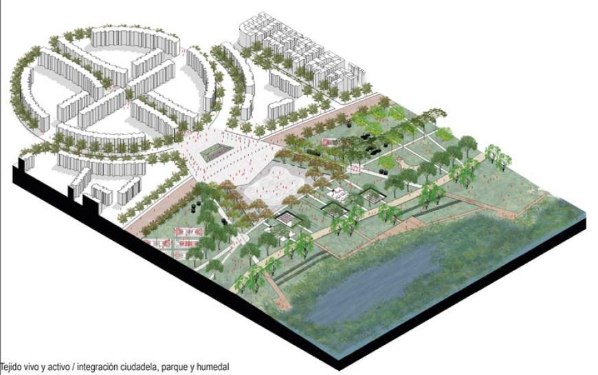 Integración de la ciudadela Colsubsidio. Image Cortesía de ECOPOLIS Estudio